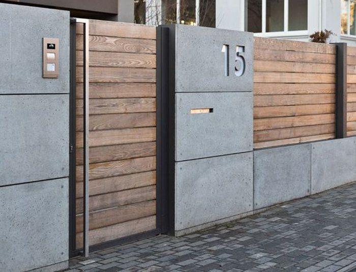Mẫu hàng rào bê tông kết hợp gỗ