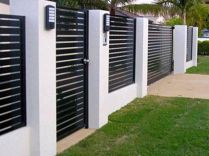 Hàng rào sắt đen trắng
