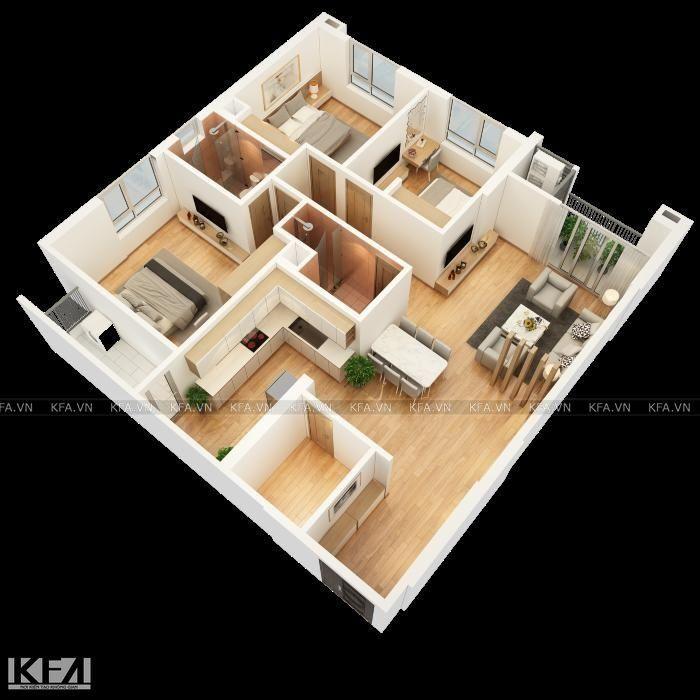 căn hộ 3 phòng ngủ thiết kế thông minh