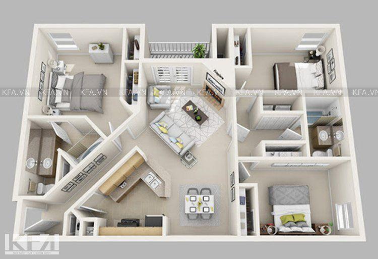 Mẫu thiết kế chung cư 3 phòng ngủ