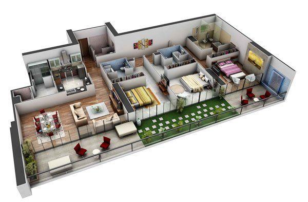 Chung cư 3 phòng ngủ hiện đại