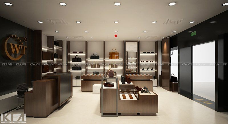 Thiết kế showroom thương hiệu da WT tại TTTM Green Star