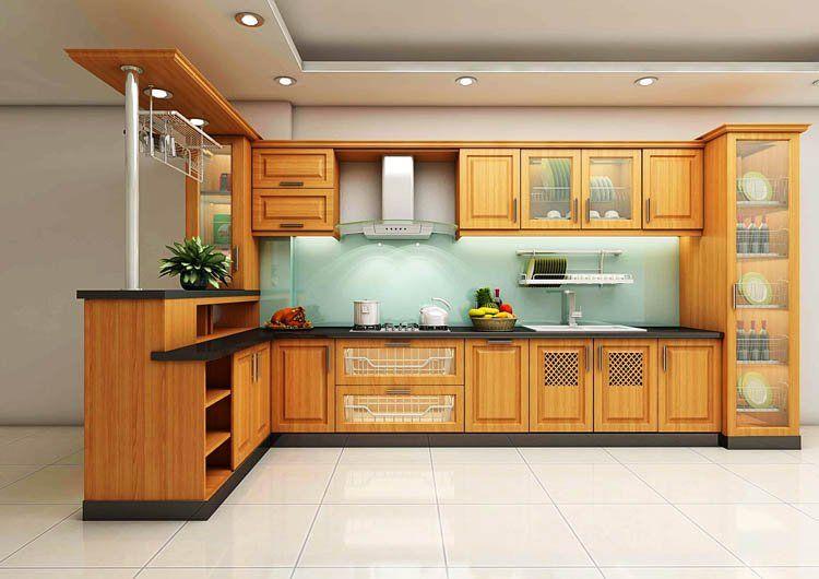 mẫu tủ bếp làm bằng gỗ sồi