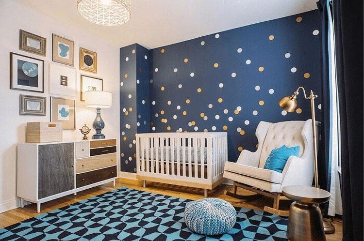 Phòng ngủ bé trai sơ sinh được thiết kế khoa học và đơn giản