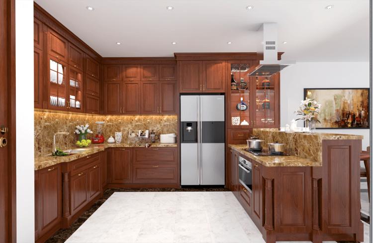 Mẫu tủ bếp có kết ăn ý với không gian nội thất