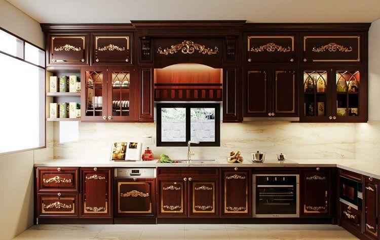 sử dụng gỗ hương làm tủ bếp này