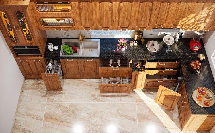 tủ bếp thiết kế theo phong cách tân cổ điển
