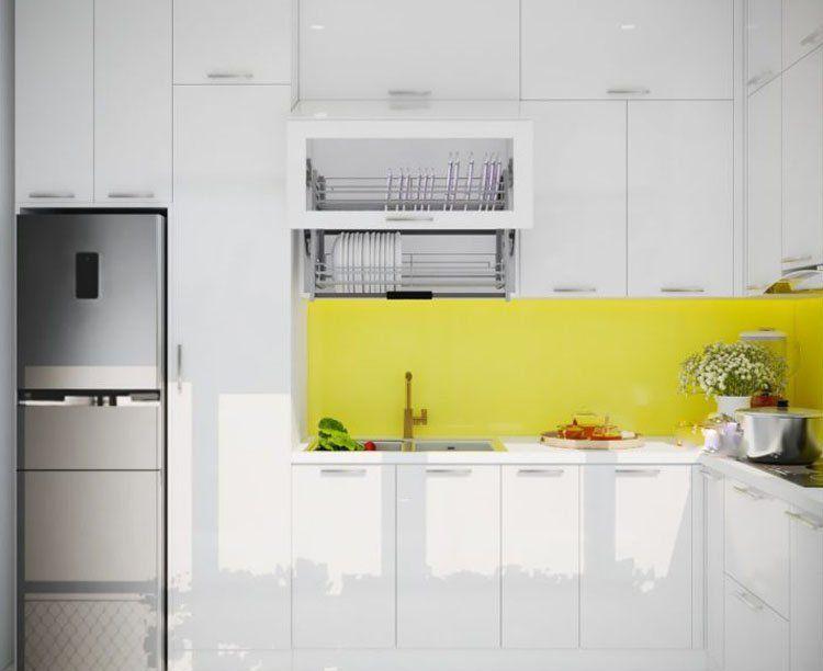 thiết kế nội thất phòng bếp theo gam màu tươi tắn