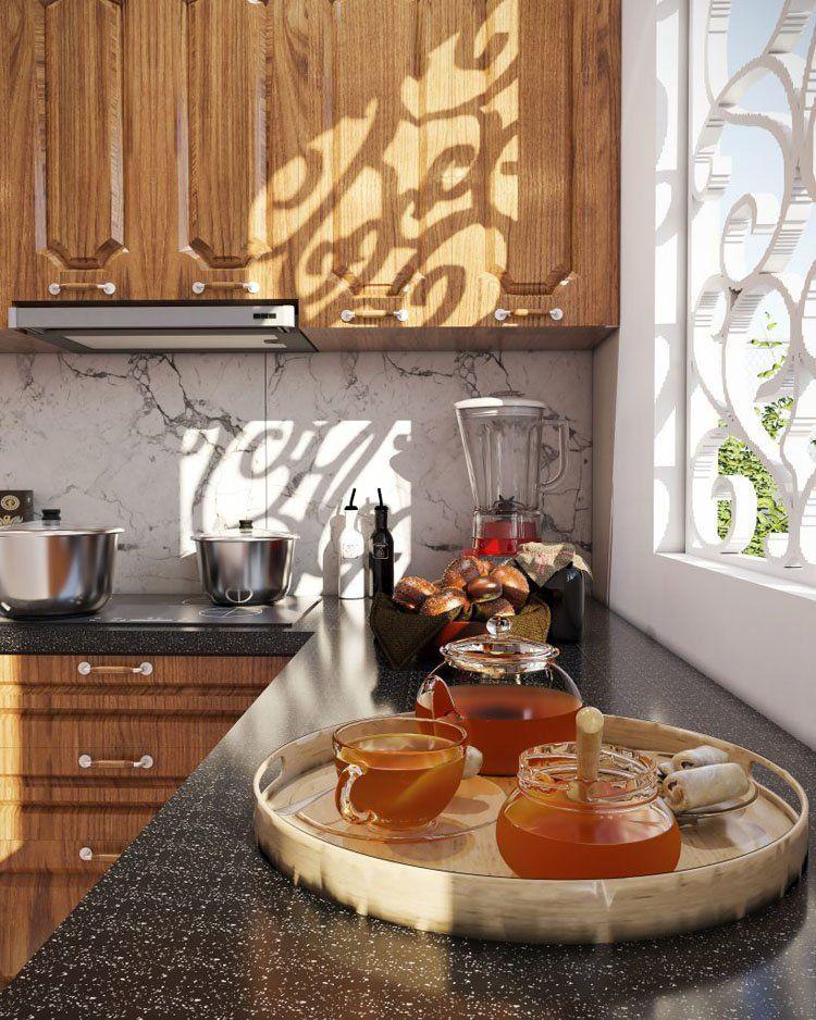 thiết kế tủ bếp gần cửa tối đa được ánh sáng