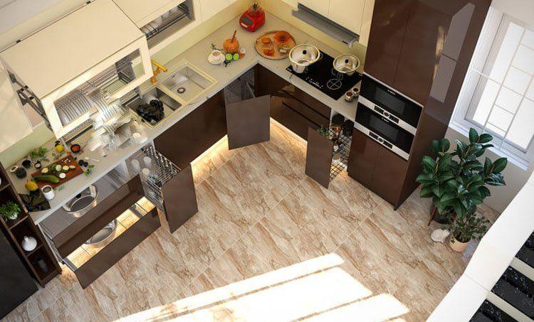 thiết kế nội thất nhà bếp sử dụng bếp từ