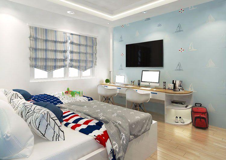 Phòng ngủ cho 2 bé trai tràn ngập ánh sáng tự nhiên