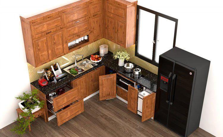 mẫu tủ bếp hình chữ L có thiết kế đơn giản