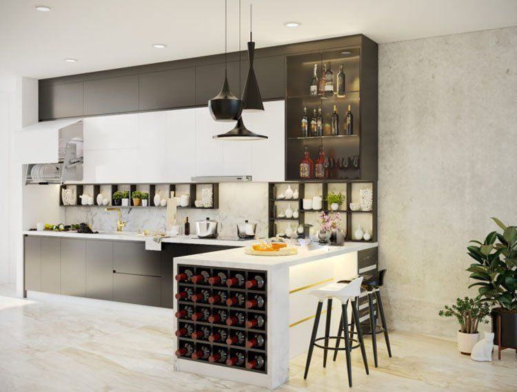 thiết kế giá treo đồ trong nhà bếp