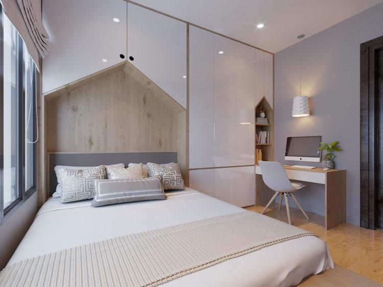 Không gian được bố trí nội thất đa năng cùng với tủ âm tường giúp tiết kiệm tối đa diện tích