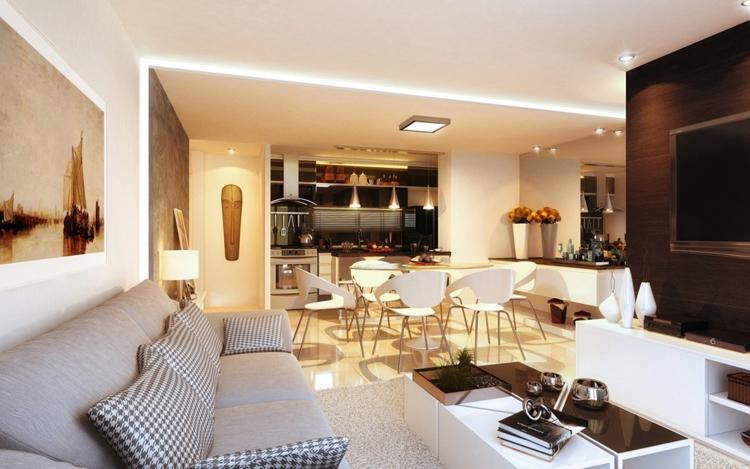 Nội thất phòng khách tạo nên một tông màu đối lập