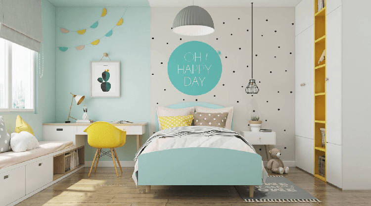 mẫu phòng ngủ này thể hiện được cá tính của các bé