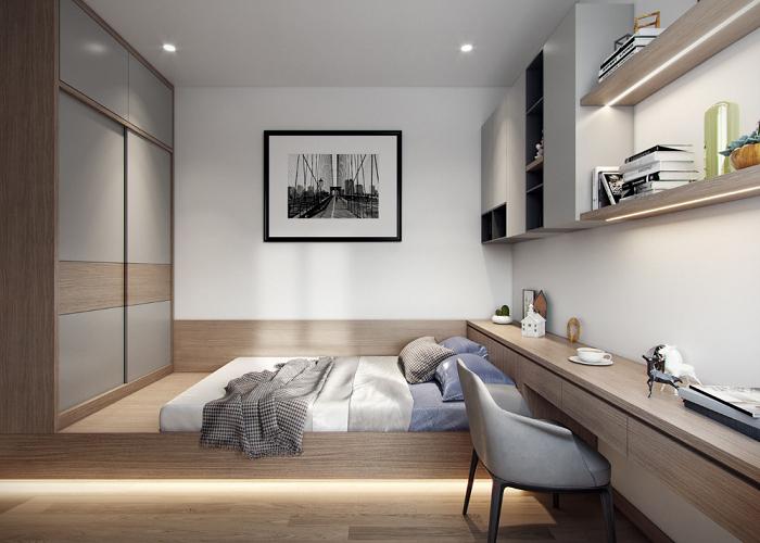 Phòng ngủ thiết kế với gam màu trung tinh cùng với đồ nội thất đa năng