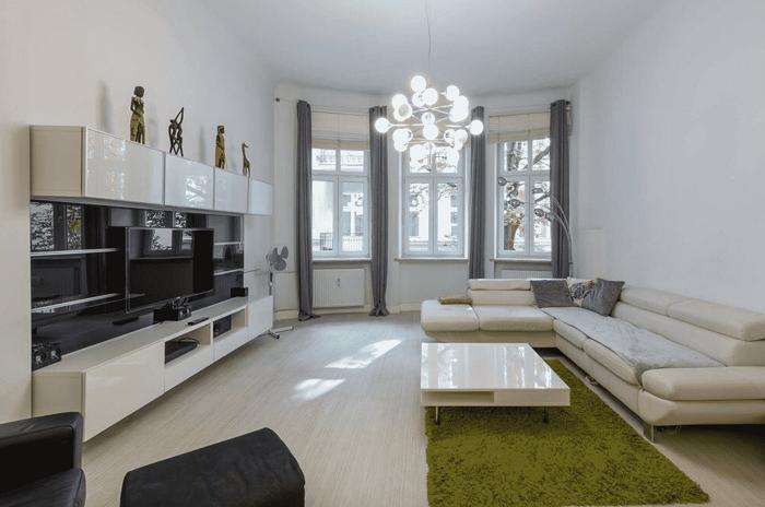 Thiết kế nội thất phòng khách chung cư 90m2 đơn giản và hiện đại