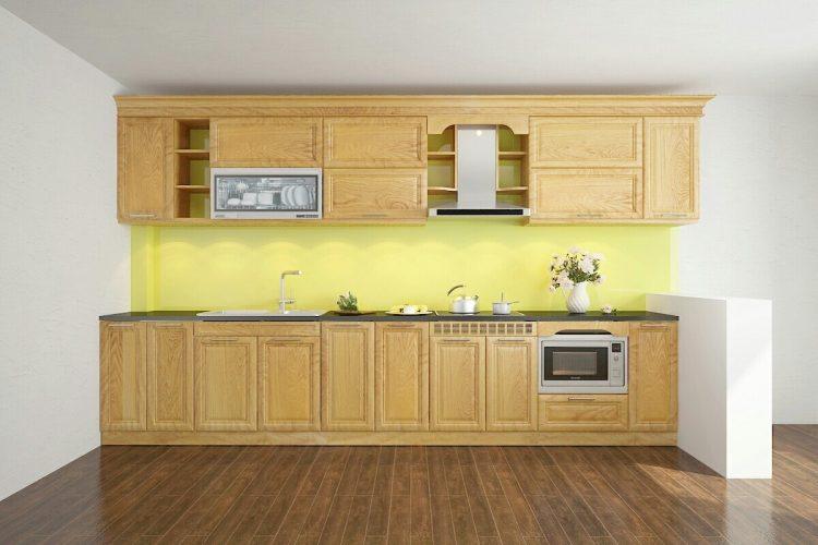 Mẫu tủ bếp gỗ Sồi đẹp chữ I