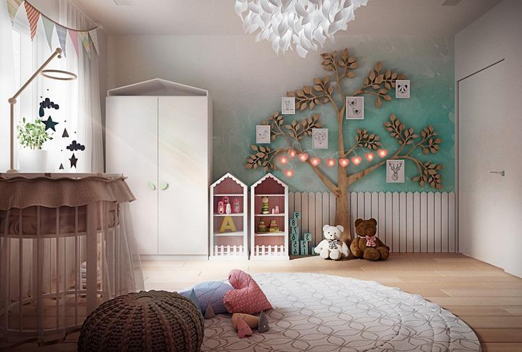 mẫu phòng ngủ cho bé gái được bố trí gọn gàng ngăn nắp