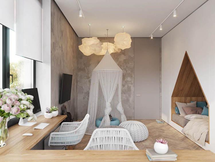 căn phòng bé gái thiết kế theo phong cách cổ tích