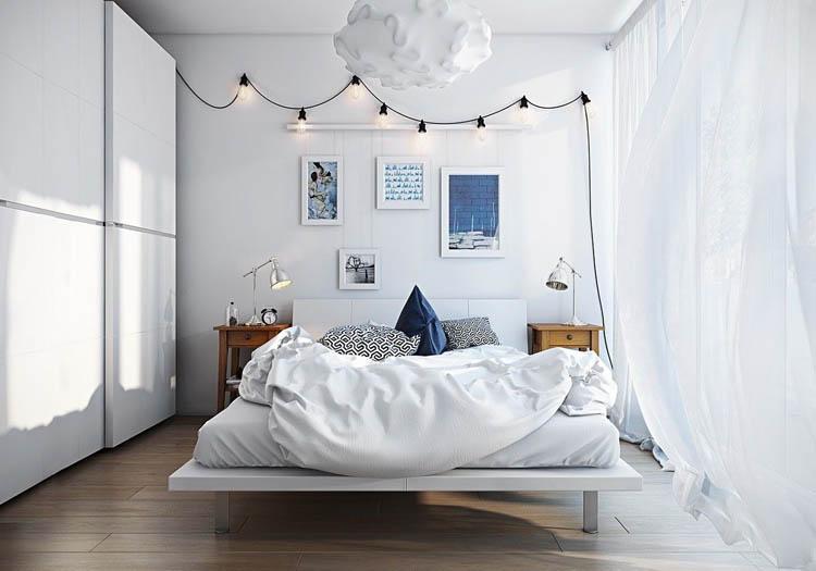 căn phòng sử dụng gam màu trắng làm gam màu chính