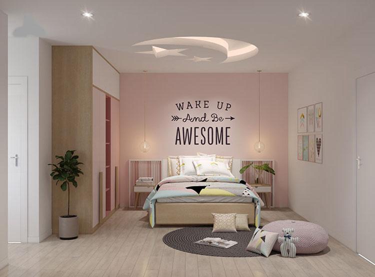 phòng ngủ bé gái có thiết kế đơn giản
