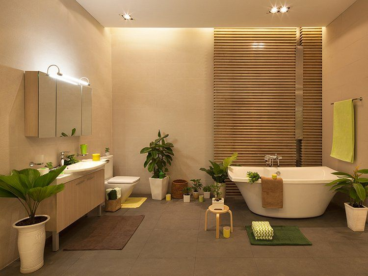 Phòng tắm mang cảm giác thoải mái và tràn ngập không khí thiên nhiên