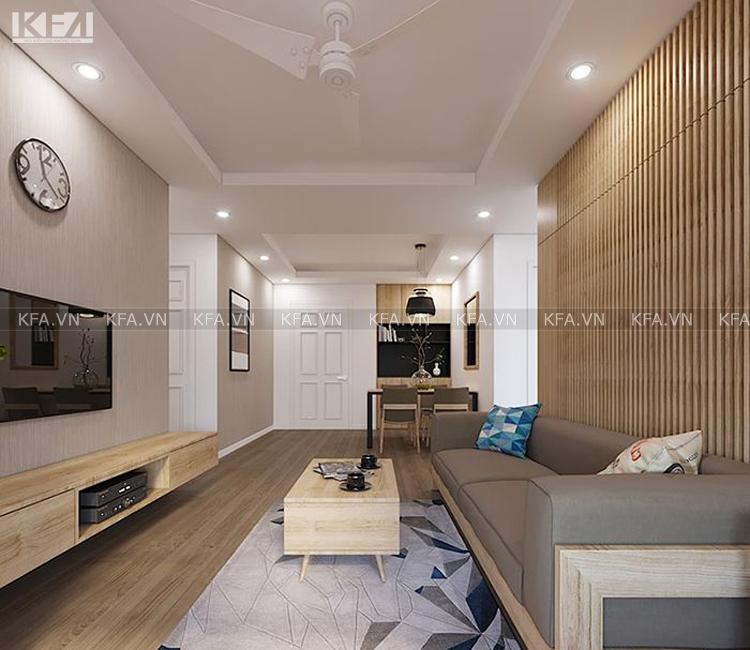 Mẫu thiết kế nội thất chung cư 76m2 hiện đại và snag trọng