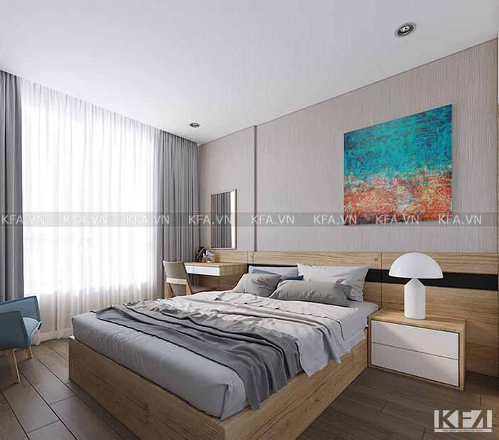 Phòng ngủ được thiết kế khoa học và điểm nhấn rõ ràng, nổi bật