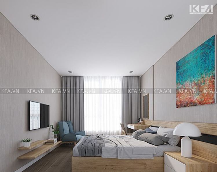 Phòng ngủ chung cư 76m2 được thiết kế thông tháng và rộng rãi