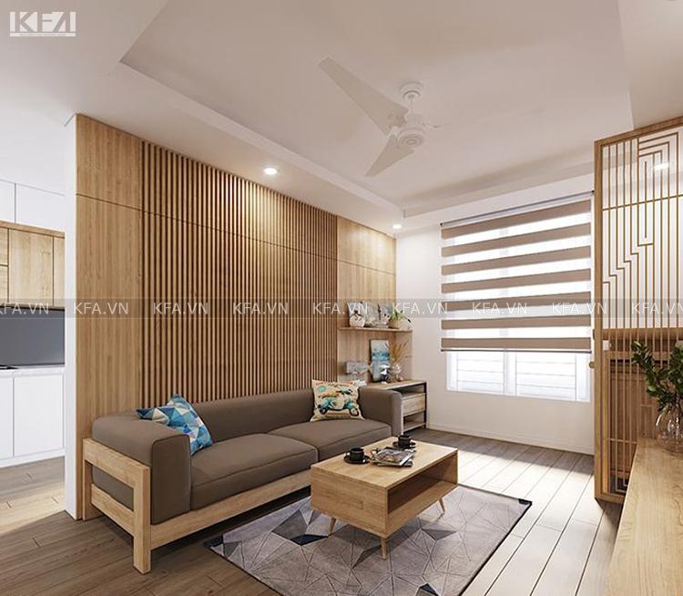 Mẫu thiết kế nội thất phòng khách chung cư 76m2 đẹp