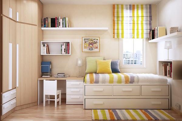 Đồ nội thất được tận dụng tối đa để không gian không cảm thấy trống trải