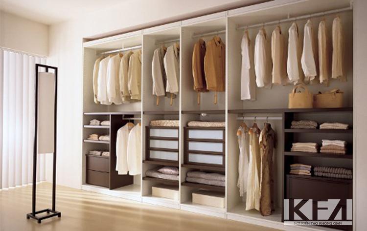 Tủ quần áo âm tường không cánh