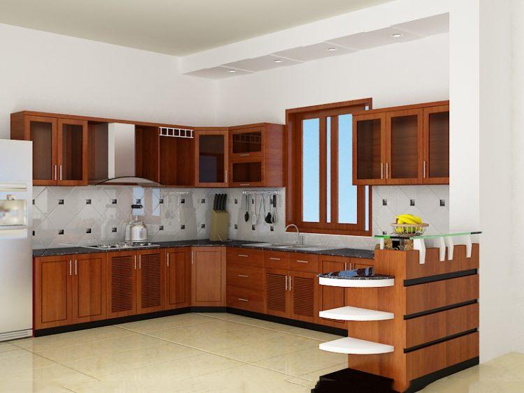 Mẫu tủ bếp gỗ Sồi chữ L