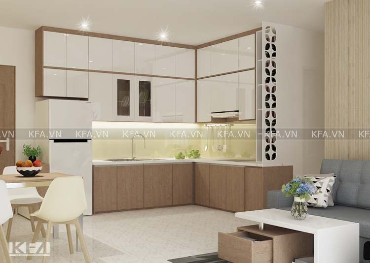Tủ bếp hình chữ L cho chung cư