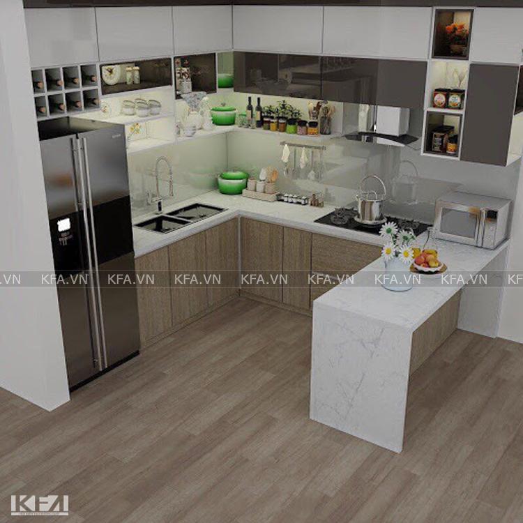Tủ bếp hình chữ U cho chung cư