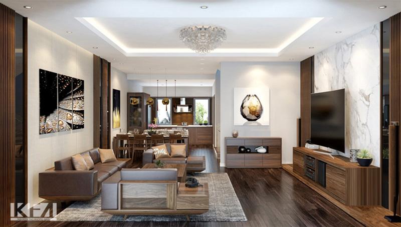 Thiết kế nội thất chung cư gỗ Óc Chó