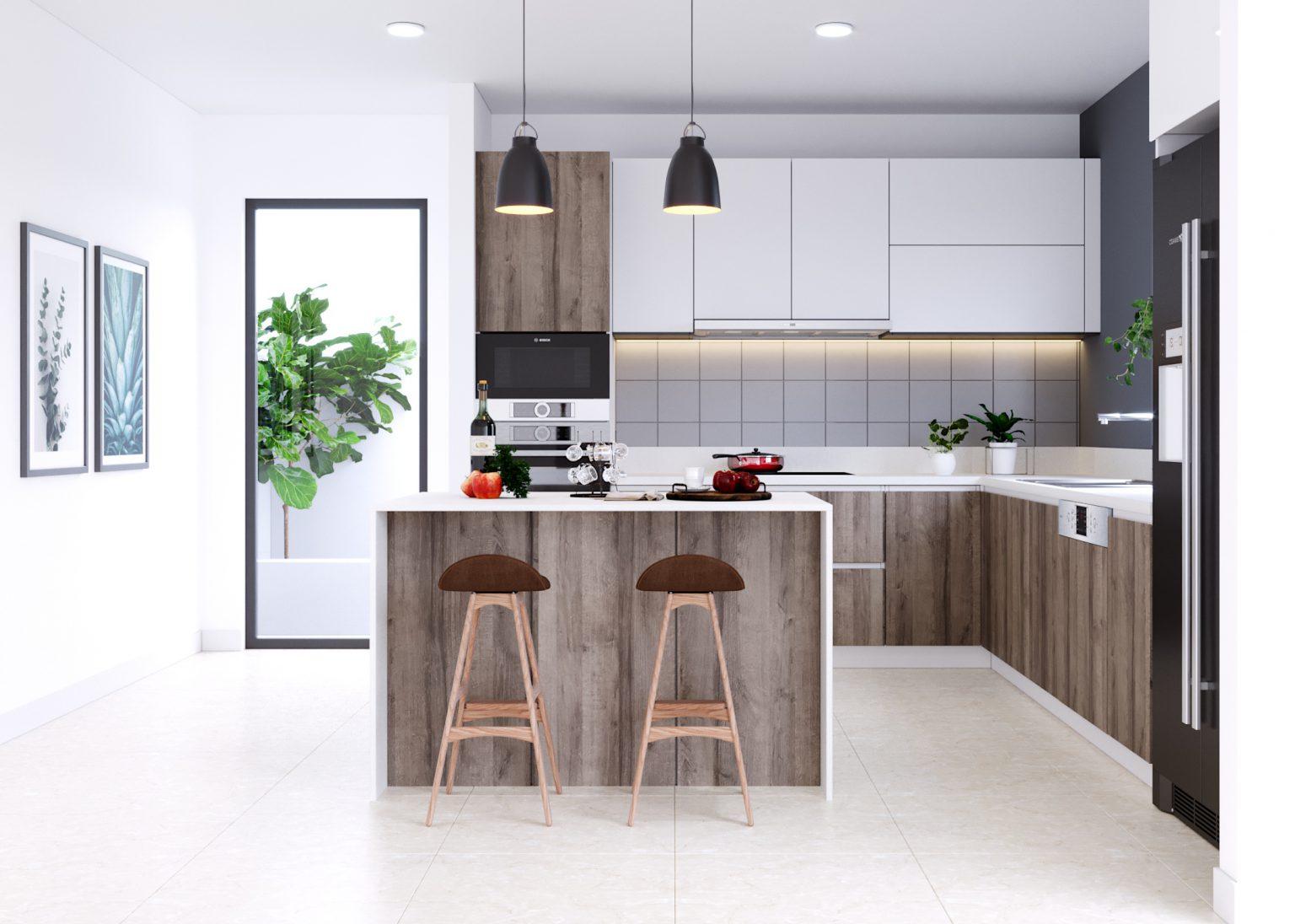 mẫu thiết kế phòng bếp chung cư đẹp 2