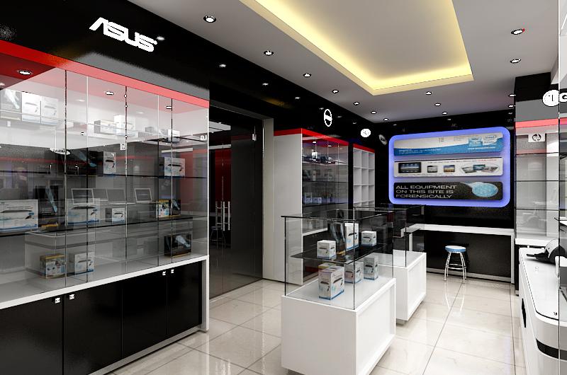 Thiết kế nội thất showroom máy tính