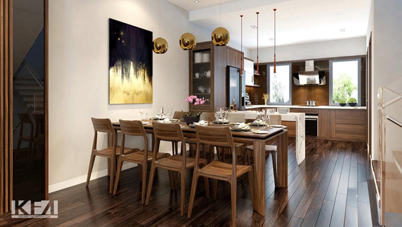 Toàn bộ nội thất đều sử dụng chung một chất liệu gỗ