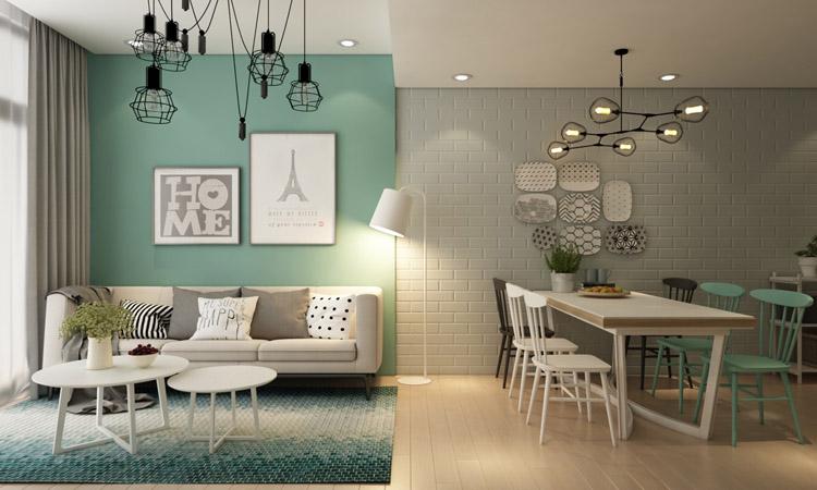 thiết nội thất phòng khách gam màu trung tính