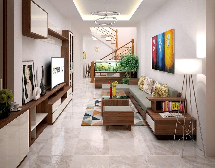 Thiết kế nội thất phòng khách nhà ống