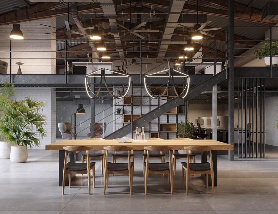 văn phòng thiết kế phong cách công nghiệp