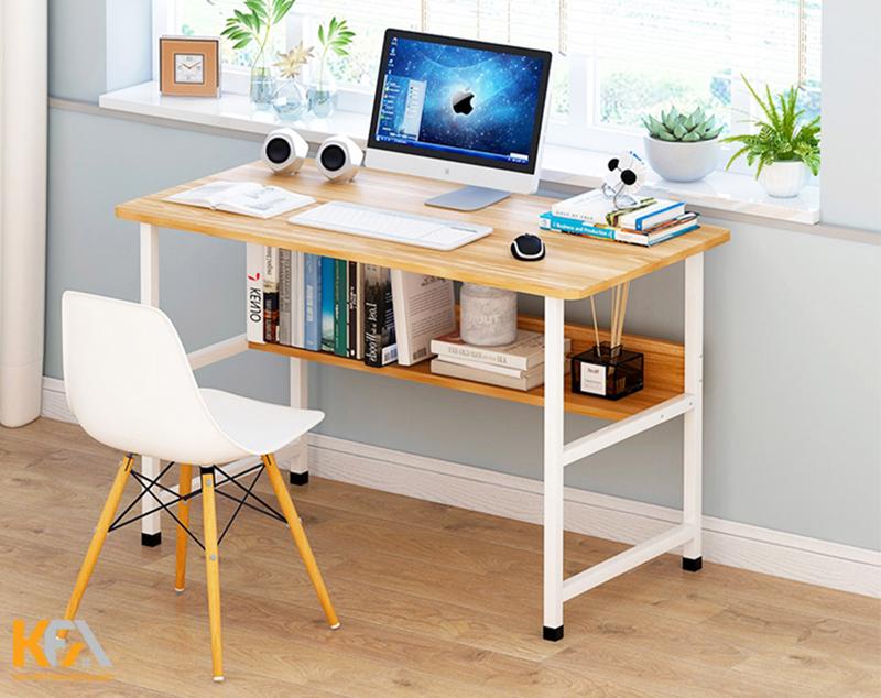Bàn làm việc trong phòng ngủ hai tầng khung nhôm, mặt bàn bằng gỗ