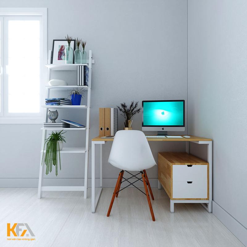 Bàn làm việc phòng ngủ đơn giản kiểu dáng hiện đại với một chân gác tủ
