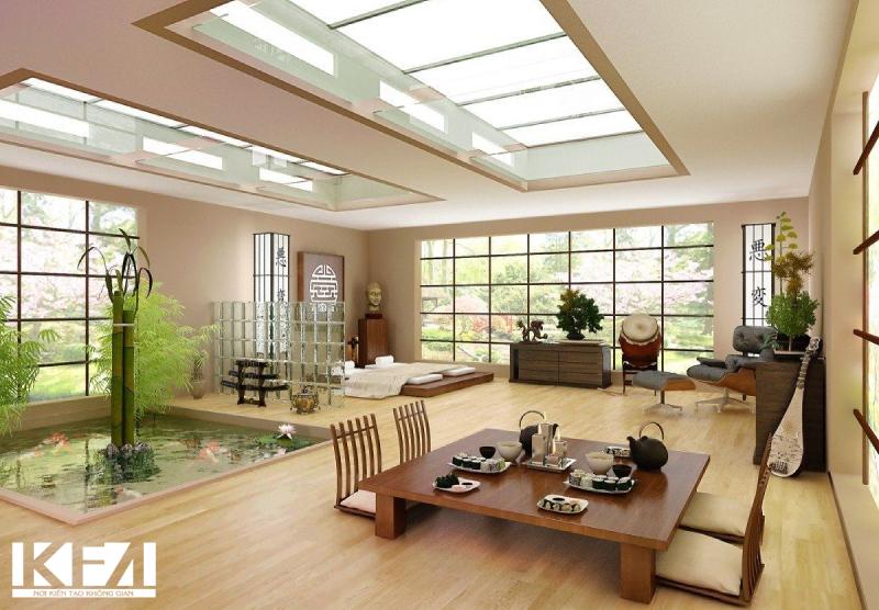 Mẫu bàn trà nhật cho phòng khách kiểu Nhật Bản