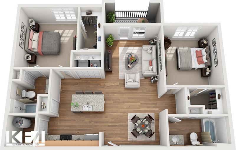 Mẫu nội thất đẹp cho nhà chung cư hiện đại 100m2.