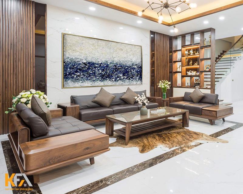 Mẫu kệ gỗ treo tường dành cho diện tích phòng khách nhỏ
