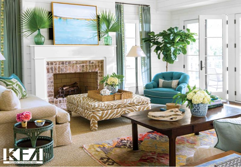 Phòng khách nhiều cây xanh cho gia chủ mệnh mộc